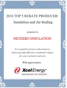 Net Zero Insulation Awarded as 2018 Top 5 Rebate Producer